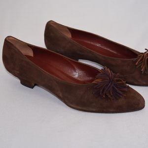 Ellen Tracy Suede Low Heel Shoes Brown 8.5